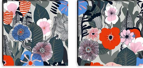 マリメッコ ファブリックパネル カスヴ(Kasvu)600×600×30mm×2枚【北欧雑貨/北欧生地】マルチの画像