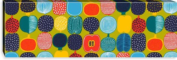 マリメッコ ファブリックパネル コンポッティ(Kompotti)300×900×30mm【北欧雑貨/北欧生地】グリーンの画像