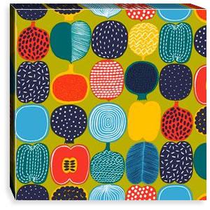 マリメッコ ファブリックパネル コンポッティ(Kompotti)450×450×30mm【北欧雑貨/北欧生地】グリーンの画像