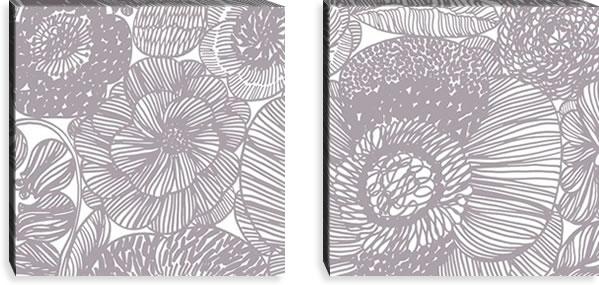 マリメッコ ファブリックパネル クルイェンポルヴィ(KURJENPOLVI)600×600×30mm×2枚【北欧雑貨/北欧生地】グレーの画像