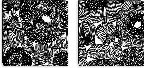 マリメッコ ファブリックパネル クルイェンポルヴィ(KURJENPOLVI)600×600×30mm×2枚【北欧雑貨/北欧生地】ブラックの画像