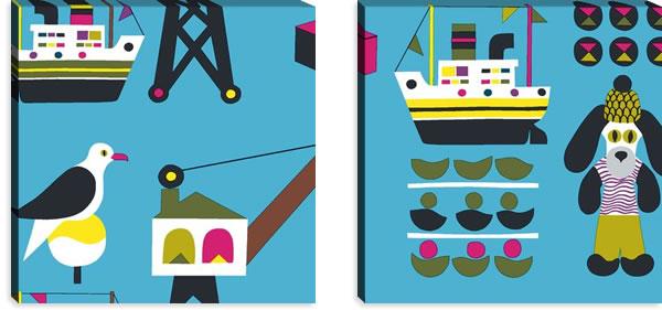 マリメッコ ファブリックパネル ライヴァコイラ(Laivakoira)600×600×30mm×2枚【北欧雑貨/北欧生地】の詳細画像