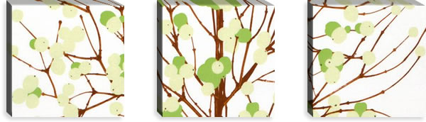 マリメッコ ファブリックパネル ルミマルヤ(Lumimarja)300×300×30mm×3枚【北欧雑貨/北欧生地】グリーンの画像