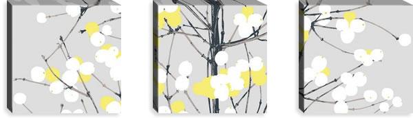 マリメッコ ファブリックパネル ルミマルヤ(Lumimarja)300×300×30mm×3枚【北欧雑貨/北欧生地】グレー/イエローの画像