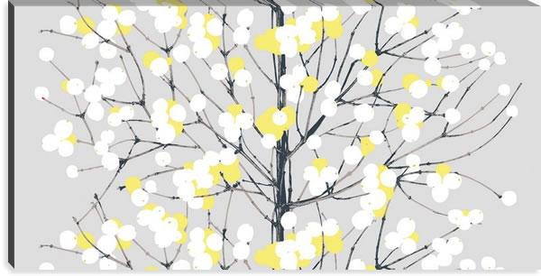 マリメッコ ファブリックパネル ルミマルヤ(Lumimarja)600×1200×30mm【北欧雑貨/北欧生地】グレー/イエローの画像