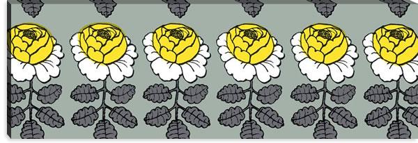 マリメッコ ファブリックパネル マーライスルース(Maalaisruusu)グレー 450×1350×30mm【北欧雑貨/北欧生地】の詳細画像
