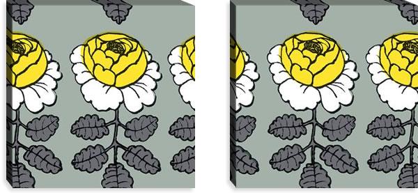 マリメッコ ファブリックパネル マーライスルース(Maalaisruusu)グレー 450×450×30mm×2枚【北欧雑貨/北欧生地】の詳細画像
