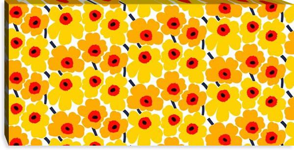 マリメッコ ファブリックパネル ミニウニッコ(Mini Unikko)450×900×30mm【北欧雑貨/北欧生地】イエロー/オレンジの画像