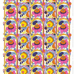 マリメッコ ファブリック ピエニ カルセッリ(Pieni Karuselli)【北欧雑貨/北欧生地】ホワイトの生地画像