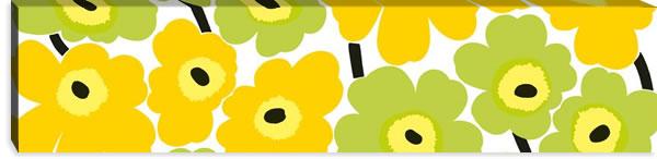 マリメッコ ファブリックパネル ピエニ ウニッコ2(Pieni Unikko2)300×1200×30mm【北欧雑貨/北欧生地】イエローライムの画像