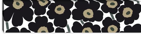 マリメッコ ファブリックパネル ピエニ ウニッコ2(Pieni Unikko2)300×1200×30mm【北欧雑貨/北欧生地】ブラックの画像