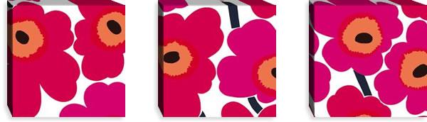 マリメッコ ファブリックパネル ピエニ ウニッコ2(Pieni Unikko2)300×300×30mm×3枚【北欧雑貨/北欧生地】レッドの画像