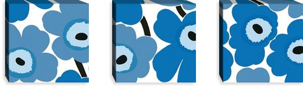 マリメッコ ファブリックパネル ピエニ ウニッコ2(Pieni Unikko2)300×300×30mm×3枚【北欧雑貨/北欧生地】ブルーの画像