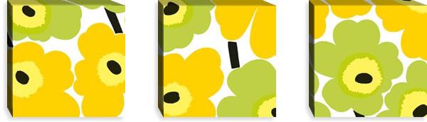 マリメッコ ファブリックパネル ピエニ ウニッコ2(Pieni Unikko2)300×300×30mm×3枚【北欧雑貨/北欧生地】イエローライムの画像