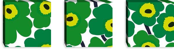 マリメッコ ファブリックパネル ピエニ ウニッコ2(Pieni Unikko2)300×300×30mm×3枚【北欧雑貨/北欧生地】グリーンの画像