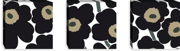 マリメッコ ファブリックパネル ピエニ ウニッコ2(Pieni Unikko2)300×300×30mm×3枚【北欧雑貨/北欧生地】ブラックの画像