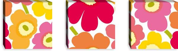 マリメッコ ファブリックパネル ピエニ ウニッコ2(Pieni Unikko2)300×300×30mm×3枚【北欧雑貨/北欧生地】マルチの画像