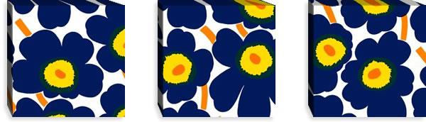 マリメッコ ファブリックパネル ピエニ ウニッコ2(Pieni Unikko2)300×300×30mm×3枚【北欧雑貨/北欧生地】ネイビーの画像