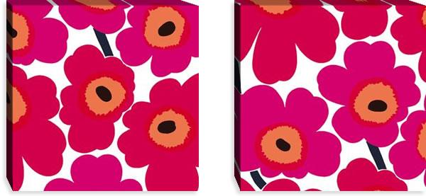 マリメッコ ファブリックパネル ピエニ ウニッコ2(Pieni Unikko2)450×450×30mm×2枚【北欧雑貨/北欧生地】レッドの画像