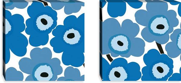マリメッコ ファブリックパネル ピエニ ウニッコ2(Pieni Unikko2)450×450×30mm×2枚【北欧雑貨/北欧生地】ブルーの画像