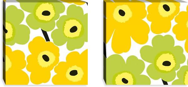 マリメッコ ファブリックパネル ピエニ ウニッコ2(Pieni Unikko2)450×450×30mm×2枚【北欧雑貨/北欧生地】イエローライムの画像