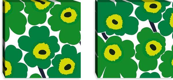 マリメッコ ファブリックパネル ピエニ ウニッコ2(Pieni Unikko2)450×450×30mm×2枚【北欧雑貨/北欧生地】グリーンの画像