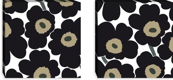 マリメッコ ファブリックパネル ピエニ ウニッコ2(Pieni Unikko2)450×450×30mm×2枚【北欧雑貨/北欧生地】ブラックの画像