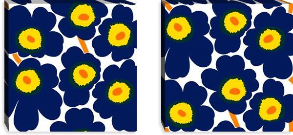 マリメッコ ファブリックパネル ピエニ ウニッコ2(Pieni Unikko2)450×450×30mm×2枚【北欧雑貨/北欧生地】ネイビーの画像
