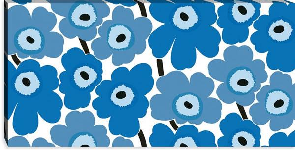 マリメッコ ファブリックパネル ピエニ ウニッコ2(Pieni Unikko2)600×1200×30mm【北欧雑貨/北欧生地】ブルーの画像