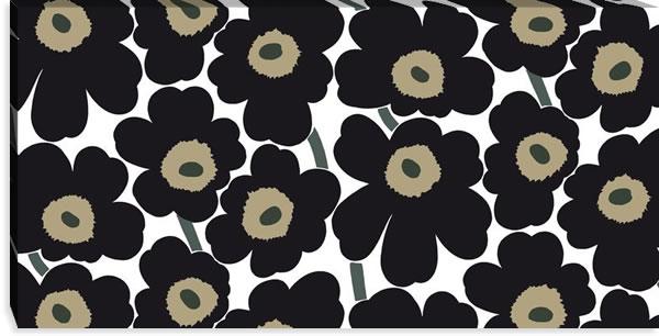 マリメッコ ファブリックパネル ピエニ ウニッコ2(Pieni Unikko2)600×1200×30mm【北欧雑貨/北欧生地】ブラックの画像