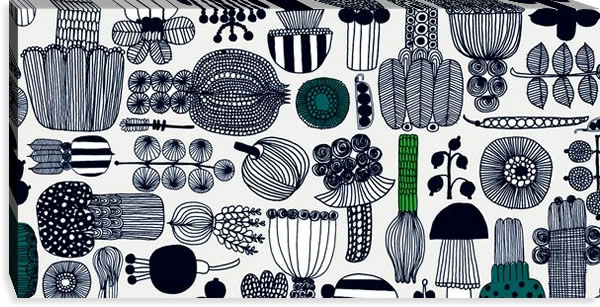 マリメッコ ファブリックパネル プータルフリン パルハート(Puutarhurin parhaat)450×900×30mm【北欧雑貨/北欧生地】ホワイトの詳細画像