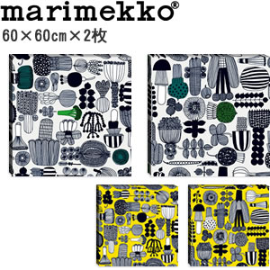 マリメッコ ファブリックパネル プータルフリン パルハート(Puutarhurin parhaat)600×600×30mm×2枚【北欧雑貨/北欧生地】の全体画像