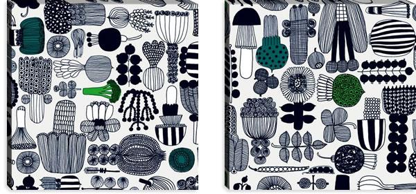 マリメッコ ファブリックパネル プータルフリン パルハート(Puutarhurin parhaat)600×600×30mm×2枚【北欧雑貨/北欧生地】ホワイトの詳細画像