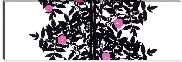 マリメッコ ファブリックパネル ルースプー(Ruusupuu)450×1350×30mm【北欧雑貨/北欧生地】ブラックの画像