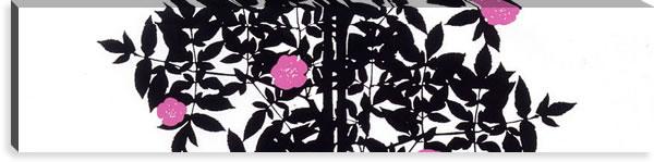 マリメッコ ファブリックパネル ルースプー(Ruusupuu)300×1200×30mm【北欧雑貨/北欧生地】ブラックの画像