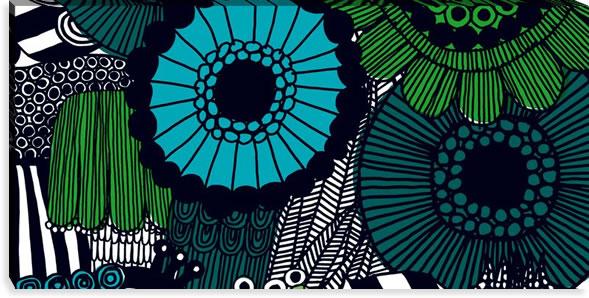 マリメッコ ファブリックパネル シィールトラプータルハ(Siirtolapuutarha)600×1200×30mm【北欧雑貨/北欧生地】グリーンの画像