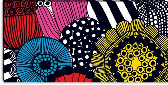 マリメッコ ファブリックパネル シィールトラプータルハ(Siirtolapuutarha)600×1200×30mm【北欧雑貨/北欧生地】マルチの画像