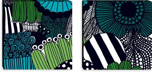 マリメッコ ファブリックパネル シィールトラプータルハ(Siirtolapuutarha)600×600×30mm×2枚【北欧雑貨/北欧生地】グリーンの画像