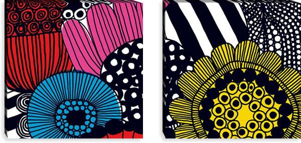 マリメッコ ファブリックパネル シィールトラプータルハ(Siirtolapuutarha)600×600×30mm×2枚【北欧雑貨/北欧生地】マルチの画像