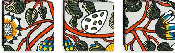 マリメッコ ファブリックパネル ティアラ(Tiara)300×300×30mm×3枚【北欧雑貨/北欧生地】マルチの画像