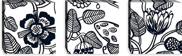 マリメッコ ファブリックパネル ティアラ(Tiara)300×300×30mm×3枚【北欧雑貨/北欧生地】ブラックの画像