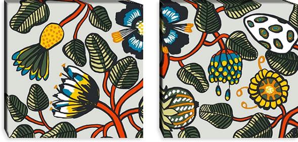 マリメッコ ファブリックパネル ティアラ(Tiara)450×450×30mm×2枚【北欧雑貨/北欧生地】マルチの画像