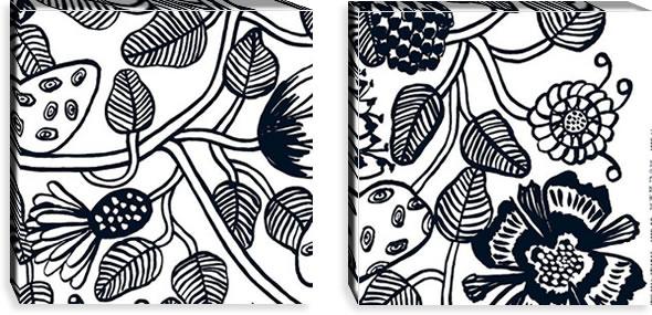 マリメッコ ファブリックパネル ティアラ(Tiara)450×450×30mm×2枚【北欧雑貨/北欧生地】ブラックの画像
