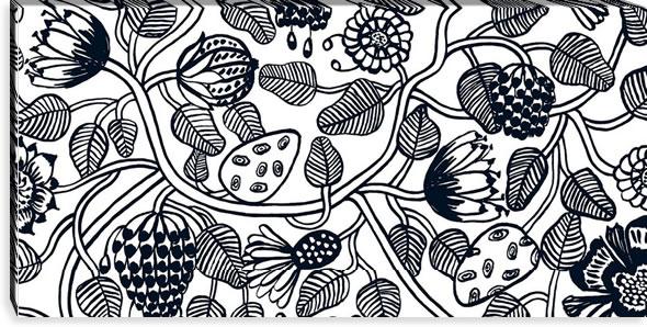 マリメッコ ファブリックパネル ティアラ(Tiara)600×1200×30mm【北欧雑貨/北欧生地】ブラックの画像