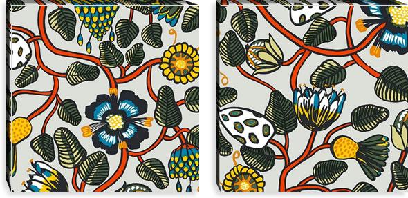 マリメッコ ファブリックパネル ティアラ(Tiara)600×600×30mm×2枚【北欧雑貨/北欧生地】マルチの画像