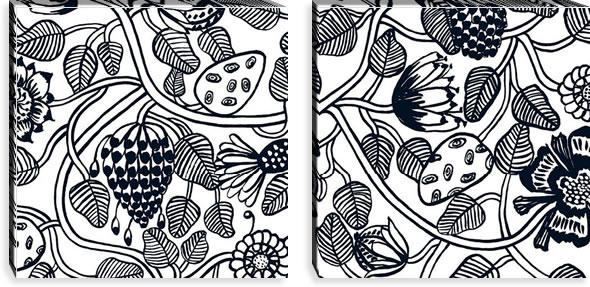 マリメッコ ファブリックパネル ティアラ(Tiara)600×600×30mm×2枚【北欧雑貨/北欧生地】ブラックの画像