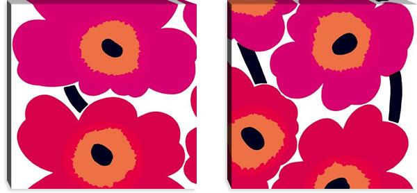 マリメッコ ファブリックパネル ウニッコ(Unikko)600×600×30mm×2枚【北欧雑貨/北欧生地】レッドの画像
