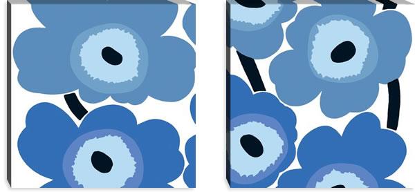 マリメッコ ファブリックパネル ウニッコ(Unikko)600×600×30mm×2枚【北欧雑貨/北欧生地】ブルーの画像