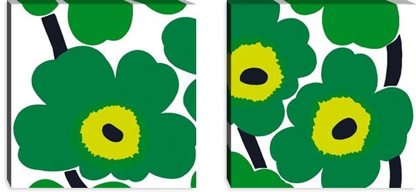 マリメッコ ファブリックパネル ウニッコ(Unikko)600×600×30mm×2枚【北欧雑貨/北欧生地】グリーンの画像