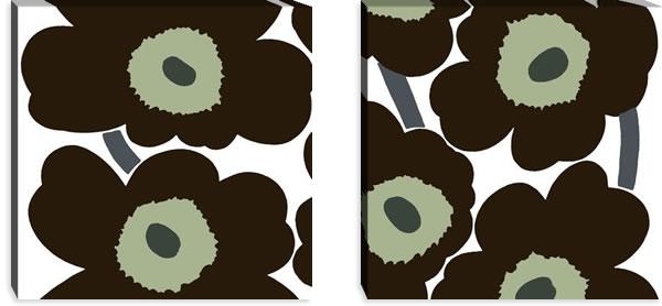 マリメッコ ファブリックパネル ウニッコ(Unikko)600×600×30mm×2枚【北欧雑貨/北欧生地】ブラックの画像